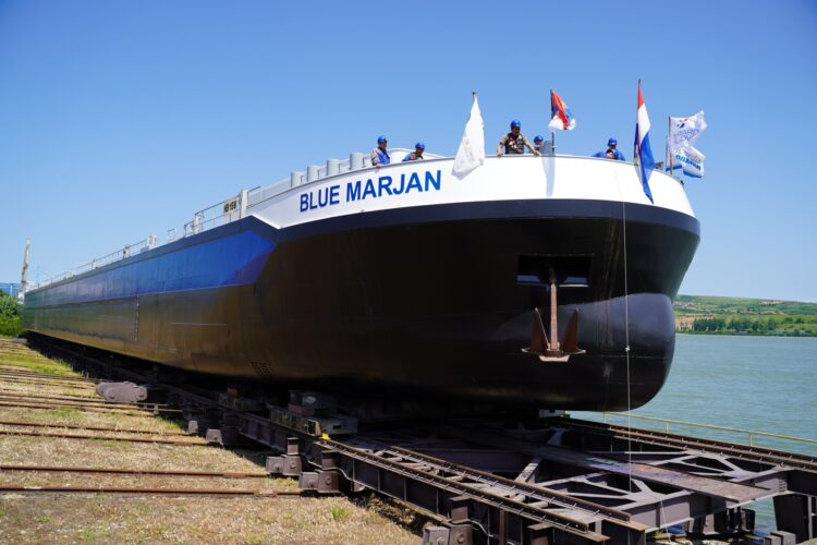Launching ceremony of new barge. Photo: Concordia Damen