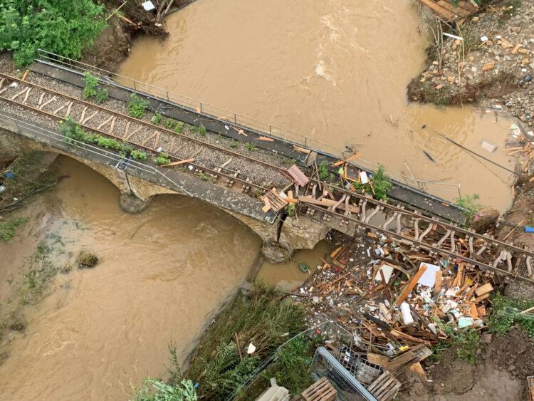 Flood damage on regional railway line. Photo: Deutsche Bahn