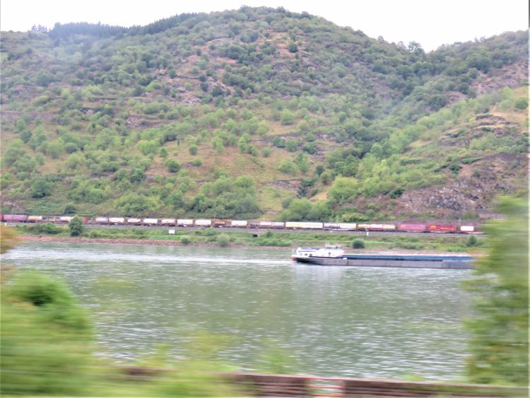 Rhine: Right bank with freight train (Photo: Martin Brandt)